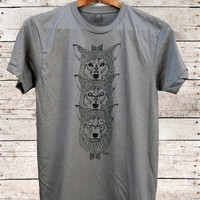 Wolf Totem - mens 50/50 wolves wolf tribal rocker t-shirt - by Bark Decor