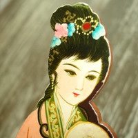 Vintage Changzhou comb, Hand-Painted Wood Hair Comb from China, Geisha Comb, Hair Accessory, Pocket Comb, Signed Chinese Oriental Comb