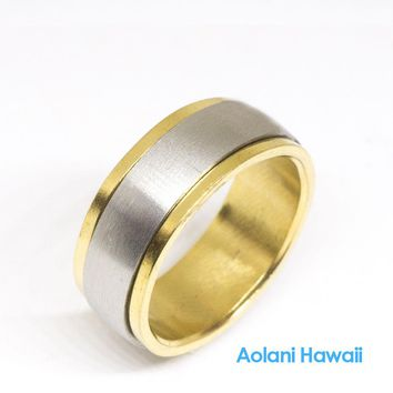 Gold Edge Stainless Steel Ring (8mm width, Barrel style)