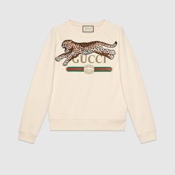 Gucci - Gucci logo sweatshirt with leopard