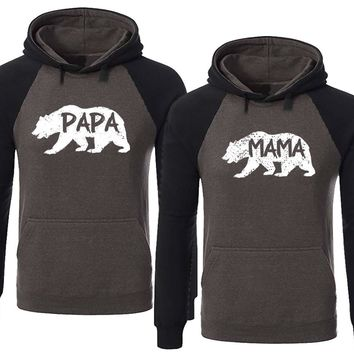 BOLD Bear Family Hoodies for Mama Bear & PAPA Bear Pullover Sweater-Charcoal Black -Price for 1