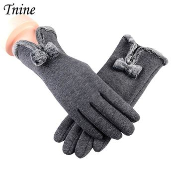 Tnine Womens Winter Gloves Touch Screen Gloves Thick Warm Windproof Mittens Elegant Bowknot Lined Smart Texting Fingers Gloves