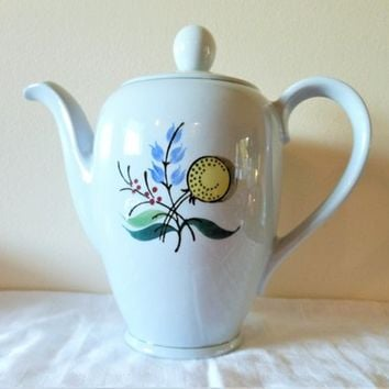 Rare Arabia of Finland Windflower Coffee Pot, Handpainted Arabia Finland Teapot, Mid Century Blue Floral Coffee Pot, Buttercup Coffeepot