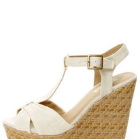 Soda Kose Off White Linen T-Strap Platform Wedge Sandals