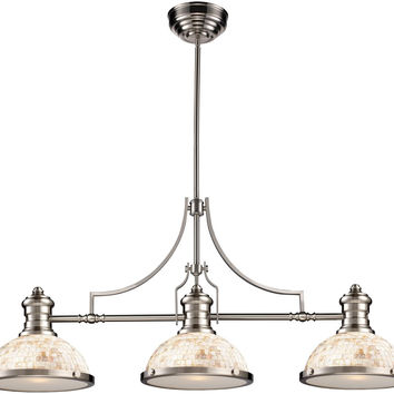 "0-008817>13""w Chadwick 3-Light Billiar/Pool/Kitchen Island Satin Nickel"