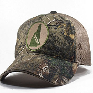 Homeland Tees Men's New Hampshire Home State Realtree Camo Trucker Hat - Army Green