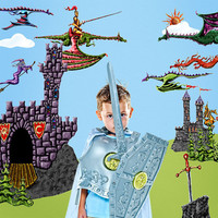 Wall Decals - Dragon, Castle, Knight Wall Stickers for Dragon Theme Kids Wall Mural  - FREE SHIPPING (USA)
