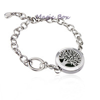 Tree Of Life Magic Box Stainless Steel Essential Oil Diffuser Bracelet