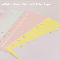 A5A6 Planner Accessories Binder Spiral Filler Paper Planner Organizer Agenda Rechanged Inner Page Colored 4 Types Filler Paper