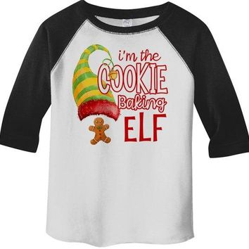 Kids Funny Elf T Shirt Cookie Baking  Matching Christmas Shirts Graphic Tee Watercolor Toddler Tee Boy's Girl's 3/4 Sleeve Raglan