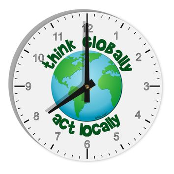 "Think Globally Act Locally - Globe 8"" Round Wall Clock with Numbers"