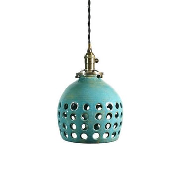 Handcrafted Pottery Hanging Pendant Light with Hand carved Holes