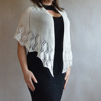 Lace Shawl Hand Knitted Cotton and Bamboo Off White Shawl Wedding Lace Shawl Ready To Ship