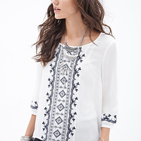 FOREVER 21 Embroidered Woven Peasant Top Cream/Navy Medium