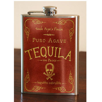 Flask 8oz Tequila Stainless Steel by trixieandmilo on Etsy