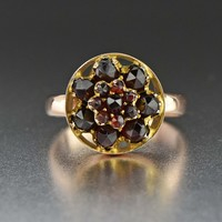 Rose Gold Garnet Flower Cluster Ring