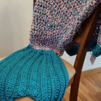 Teal and pink glitter Mermaid Tail Blanket. Made by Bead Gs on ETSY. Child size. mermaid tail