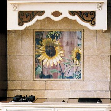 Ceramic Tile Mural, Sunflowers Against Red Barn Wood