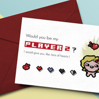 Binding of Isaac Valentine Card Would you be my player 2 ?
