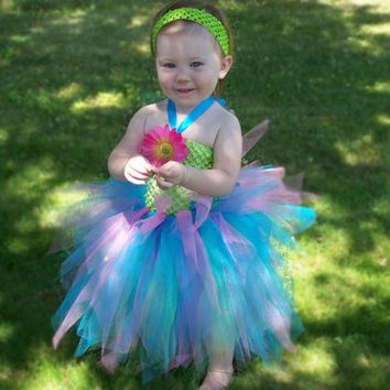 Easter Baby TuTu Dress Lime Green Turquoise Blue by leeleeandjj