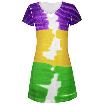 Mardi Gras Color Me Cajun All Over Juniors Beach Cover-Up Dress