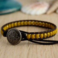 Yellow, goldenrod, mustard bead bracelet. Skinny bracelet. Beaded leather jewelry