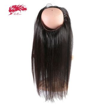 Ali Queen Hair Pre Plucked 360 Lace Frontal Closure With Elastic Bangs 100% Brazilian Straight Virgin Human Hair For Black Women