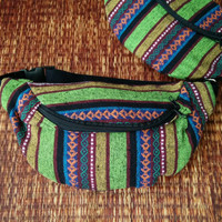 Festival Tribal Fanny pack boho Styles cycling bag Hippie Hipster phanny waist Bum bag Ethnic Ikat Bohemian Stripe unisex Multicolor green