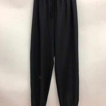 Elastic Waist Joggers With Pockets - Black