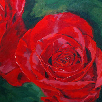 Rose painting giclee on canvas print with by FinnellFineArt