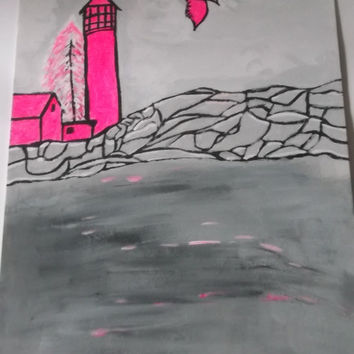 Hot Neon Pink LightHouse Abstract Acrylic Art Pink Trees Pink Bird Gray Background Unique Painting Wall Art Missy69