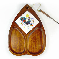 Wood Cheese Board Berggren Rooster Tray Tile Trivet Swedish Kitchen Danish Modern Tray Dish Cutting Board Mid Century Amoeba Scandinavian