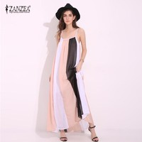 Maxi Dresses Sleeveless Chiffon  Beach Summer Dress