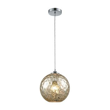31380/1MRC Watersphere 1 Light Pendant In Polished Chrome With Mercury Hammered Glass