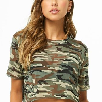 Sheer Camo Print Crop Top