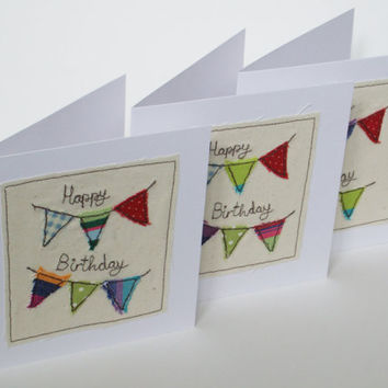 Birthday Card - Birthday Bunting Card - Machine embroidered