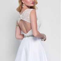 [79.99] Amazing Lace & Chiffon Bateau Neckline A-Line Short Homecoming Dresses With Beads & Rhinestones - dressilyme.com