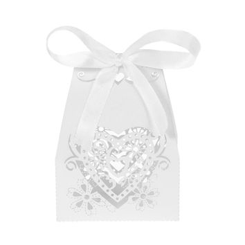 50pcs/set Mini Laser Cut Hollow Wedding Favor Box Candy Boxes White Pearl Paper Gift Box