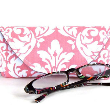 Eyeglass Case or Sunglass Case with Magnetic Closure in Pink White Damask