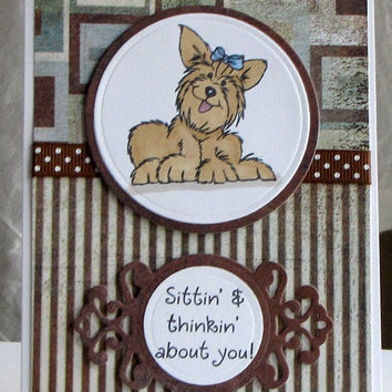 Yorkie Dog Greeting Card, All Occasion, birthday, hand colored, hand stamped, masculine, brown striped, distressed, handmade card
