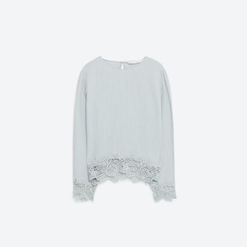 SILK TOP WITH LACE TRIM - TOPS-TRF | ZARA United States