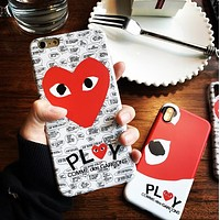 """Comme des garçon play""  Fashionable Women Men Classic Heart-Shaped Eyes Soft Mobile Phone Cover Case For iphone 6 6s 6plus 6s-plus 7 7plus 8 8plus X XSMax XR"