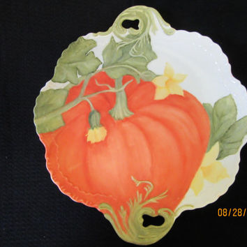 Pumpkin Plate Tray, Serving, Fall Autumn Home Decor, hand painted by B. Marsh