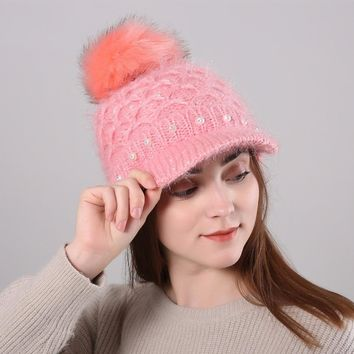 Solid Color Pom Pom Fur Ball Winter Women's Hat Pom Pom Cap Pearl Rhinestone Thick Warm Beanie Hat For Women Brim Knitted Hats