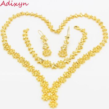 Luxury Desigh Ethiopian Bridal Jewelry set Gold Color Women Necklace/Earrings/Bracelet African/Dubai/Nigeria/Arabic Items