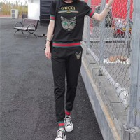 """Gucci"" Women Casual Fashion Multicolor Stripe Sequin Cat Head Short Sleeve Trousers Set Two-Piece Sportswear"