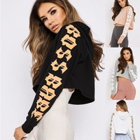 Women Sport Casual Letter Print Hooded Long Sleeve Sweater Hoodie Sweatshirt Crop Tops