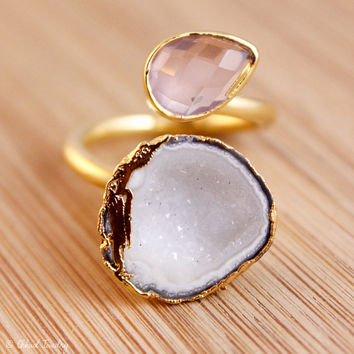 SALE Pink Chalcedony And Druzy Ring - Dual Gemstone Ring - Adjustable Ring