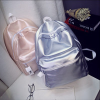 Metallic Pink and silver sandust backpack