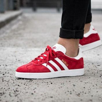 LMFUX5 Best Online Adidas Originals Wmns Gazelle Red/ White / Gold Metallic Sneakers Classic Casual Shoes - S76228